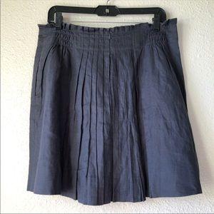 J. Crew Linen Pleated Indigo Blue Skirt